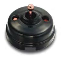 Dimbler bouton pourssoirt, corps en porcelaine noire/manette cuivre avec pas de cable (60312222)