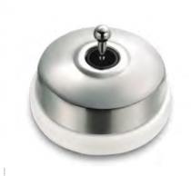 Dimbler bouton poussoir en métal couleur chrome, corps en porcelaine blanche avec manette (60312682)