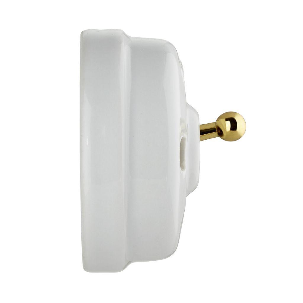 Dimbler bouton poussoir rocking, corps en porcelaine blanche / manette dorée