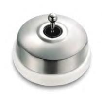 Dimbler va-et-vient en métal couleur chrome brillant, corps en porcelaine blanche (60308682)