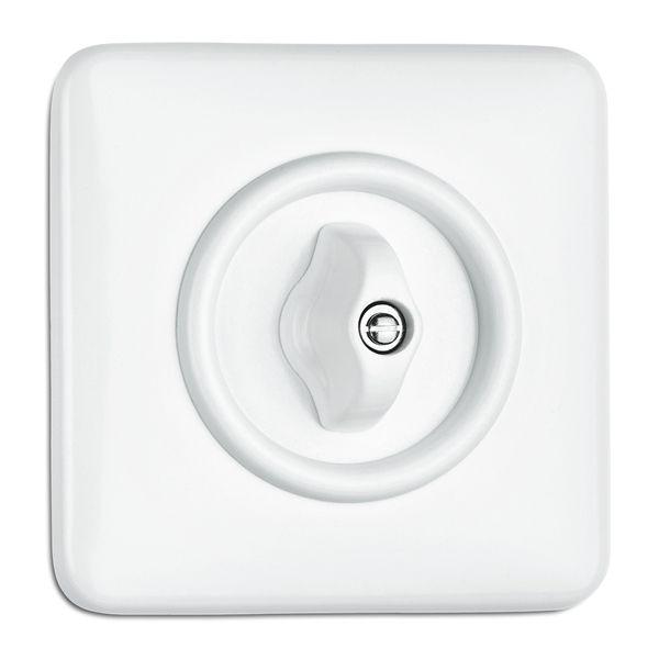 Double interrupteur simple rotatif en bakelite blanche (186885)