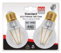 Ecowatts - Standard A60 Filament LED (2 Pcs) 4W E27 2700K 440Lm Claire (998654)