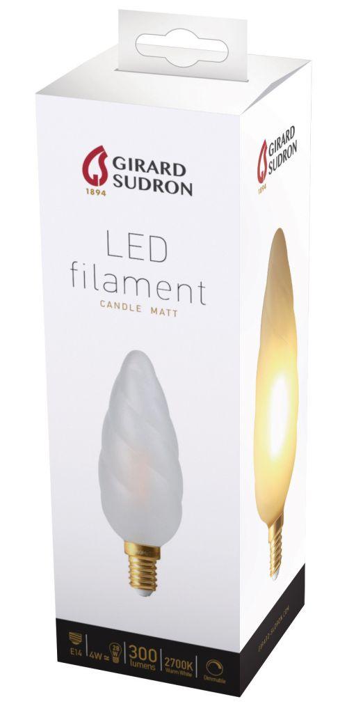 Flamme Torsadée Géante F15 Filament LED 4W E14 2700K 300lm satinée mat Dimmable (713202) équivalent 30 watts