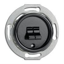 Interrupteur double va-et-vient bakelite noire pour cache en verre (100573)