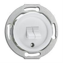 Interrupteur double va-et-vient en bakélite blanche pour cache en verre (100574)