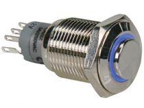 Interrupteur métallique rond haut spdt 1no 1nc - anneau bleu (R1710B)