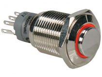 Interrupteur métallique rond haut spdt 1no 1nc - anneau orange (R1710O)