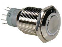Interrupteur métallique rond spdt 1no 1nc - anneau blanc (R1610W)