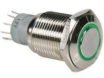 Interrupteur métallique rond spdt 1no 1nc - anneau vert (R1610G)
