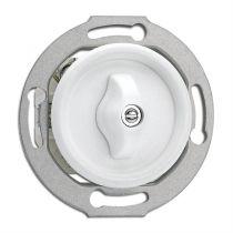 Interrupteur rotatif va et vient avec corps central bakelite blanche pour cache en verre (100671)