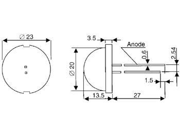 Jumbo led rouge diff. 20mm - 64mcd (DLC2-6SRD)