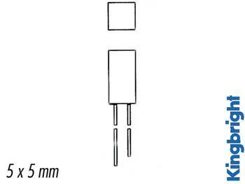 L-1553 gdt led 5mm vert diff. 8mcd carree (L-1553GDT)