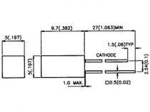 L-1553 hdt led 5mm rouge diff. 1.25mcd carree (L-1553HDT)