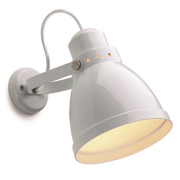 lampe d\'atelier rétro métal blanche. E27 diam 15,5cm (182550)