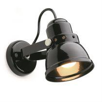 lampe d\'atelier rétro métal noire. E27 diam 10cm (182554)