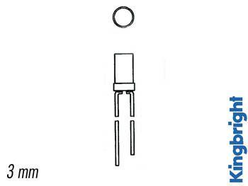 Led a tete plate rouge diffusante 3mm (L-424IDT)