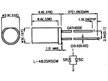 Led plate jaune diffusante 5mm (L-483YDT)