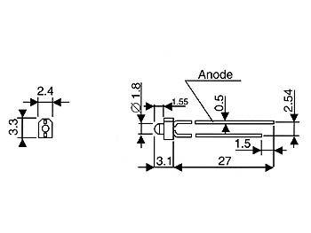 Led standard 1.8mm - rouge diffusant (L-2060HD)
