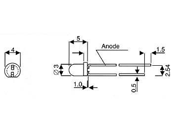 Led standard 3mm - vert diffusant (L-34GD)