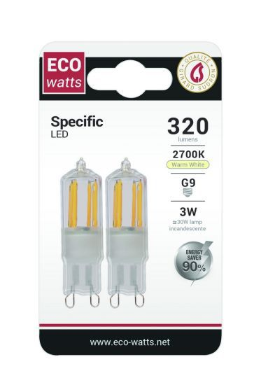 Lot de 2 Pépites LED G9 3W 2700K 320Lm (161177) équivalent 30 watts