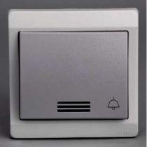 Mureva - bouton-pouss. lumin. avec picto sonnerie - gris - Complet encastré - IP44 IK08