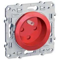 Odace, prise de courant 2P+T Rouge, à détrompage, connexion rapide