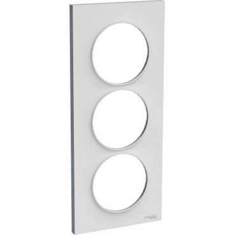 Odace styl, plaque gris pierre 3 postes verticaux entraxe 57 mm
