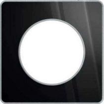 Odace touch, plaque aluminium brillantt fumé avec liseré alu 1 poste