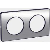 Odace Touch, plaque Aluminium brossé liseré Anth. 2 post. horiz./vert. 71mm (S540804J)