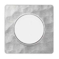 Odace touch, plaque aluminium martelé avec liseré blanc 1 poste