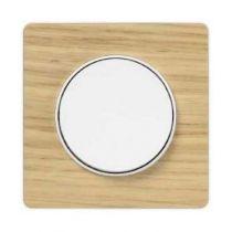 Odace touch, plaque bois naturel avec liseré blanc 1 poste