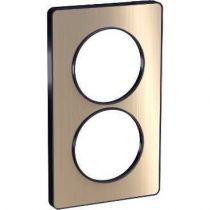 Odace Touch, plaque Bronze brossé avec liseré Anth. 2 postes verticaux 57mm (S540814L)