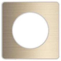 Odace touch, plaque bronze brossé avec liseré blanc 1 poste