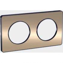 Odace Touch, plaque Bronze brossé liseré Anthracite 2 postes horiz./vert. 71mm (S540804L)