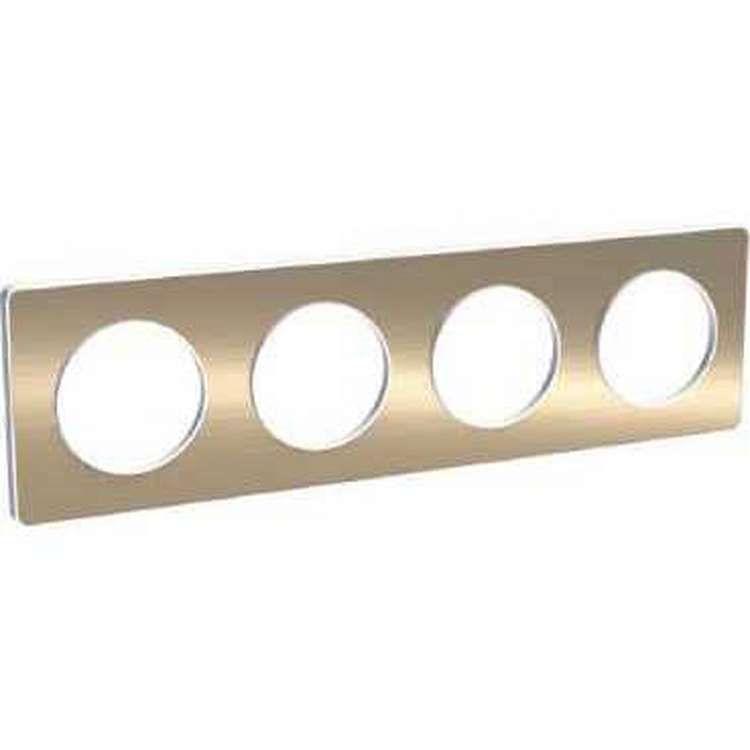Odace touch, plaque bronze brossé liseré blanc 4 postes horiz./vert. 71 mm