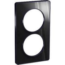 Odace Touch, plaque Miroir brillant fumé avec liseré Anth. 2postes entraxe 57mm (S540814K1)