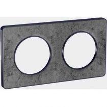 Odace Touch, plaque Pierre Glt avec liseré Anth 2 postes horiz/vert entraxe 71mm (S540804U)