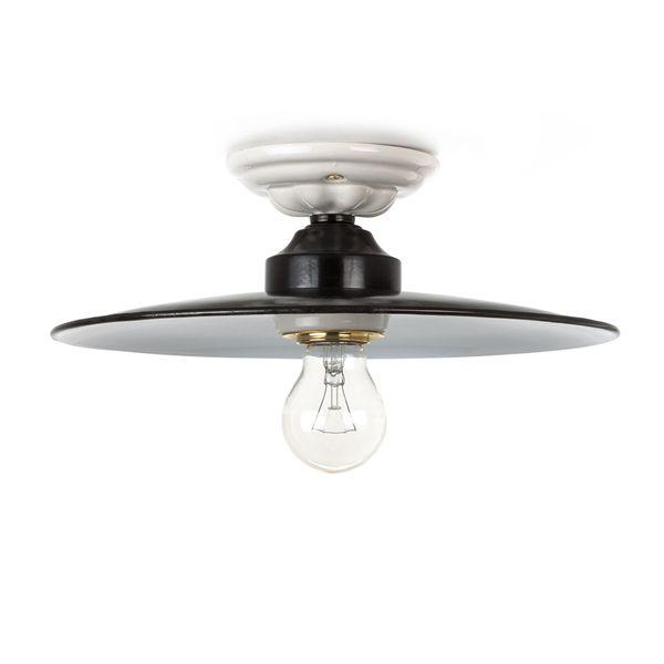 Plafonnier rétro email et céramique noire et blanche E27 diam. 29,5cm (119049)