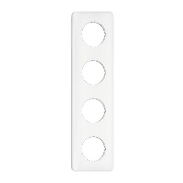 Plaque de finition quadruple bakelite blanche pour tel-tv-rj45-enceintes-variateurs (176424)