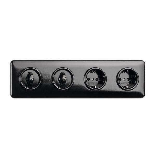 Plaque de finition quadruple bakelite noire pour tel-tv-rj45-enceintes-variateurs (173091)