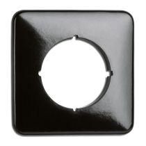 Plaque de finition simple bakelite noire tel-tv-rj45-enceintes-variateurs (119327)