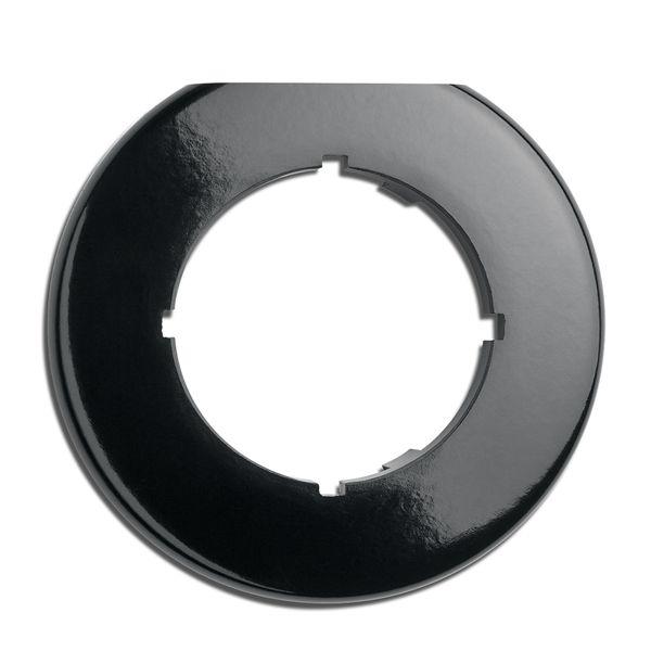Plaque de finition simple biseautée bakelite noire hors variateurs, tv, rj 45, téléphone et enceintes (173092)