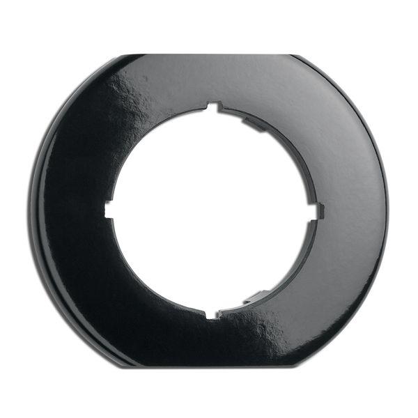 Plaque de finition simple biseautée bas et haut  bakelite noire hors variateurs, tv, rj 45, téléphone et enceintes (173093)