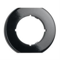 Plaque de finition simple biseautée bas et haut  bakelite noire pour variateurs, tv, rj 45, téléphone et enceintes (173095)
