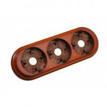Plaque de finition triple en bois hêtre, couleur miel pour interrupteurs Dimbler