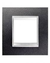 Plaque lux -  en technopolymère façon cuir - 2+2 modules horizontal - noir - chorus