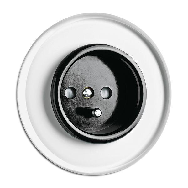 Prise de courant française bakélite noire pour cache en verre (100640)