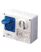 Prise fixe horizontale avec interrupteur de blocage - avec fond protégée - 2p+t 16a 110 v 4h cbf - ip44