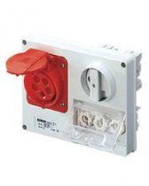 Prise fixe horizontale sans interrupteur de blocage - sans fond protégée - 3p+n+t 32a 230v 9h cbf - ip44