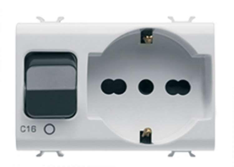 gewiss gw10312 prise interverrouill 2p t 16a p30 p17 avec disjoncteur magn tothermique. Black Bedroom Furniture Sets. Home Design Ideas